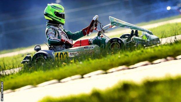 Mick Schumacher competes during the 2014 German Kart Championship International ADAC, in Genk