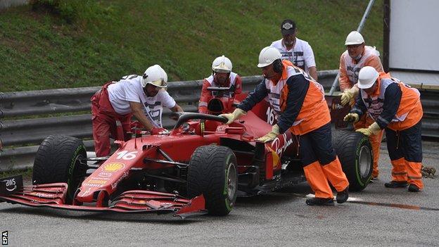 Charles Leclerc's Ferrari is taken away at the Hungarian Grand Prix