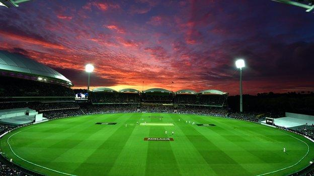 The Adelaide Oval during the first ever day-night cricket Test match between Australia and New Zealand