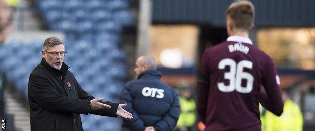 Hearts manager Craig Levein passes on instructions to Daniel Baur