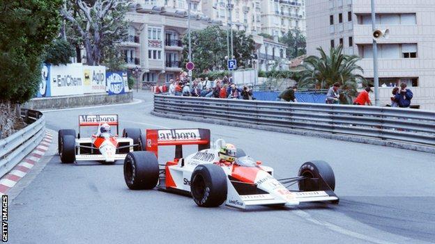 Alain Prost and Aryton Senna on track in 1988