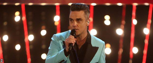 Robbie Williams sang his latest hit, Love my Life