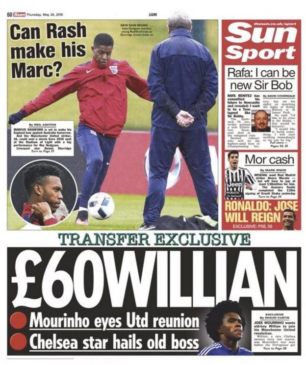 The back page of The Sun's Thursday edition