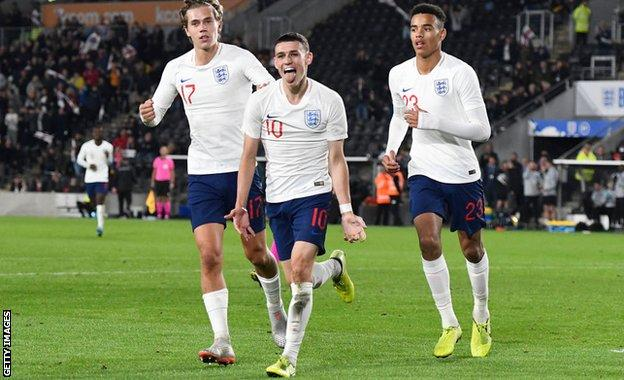Phil Foden celebrates after scoring his second goal of the game as England Under-21s beat Kosovo 2-0 on 9 September