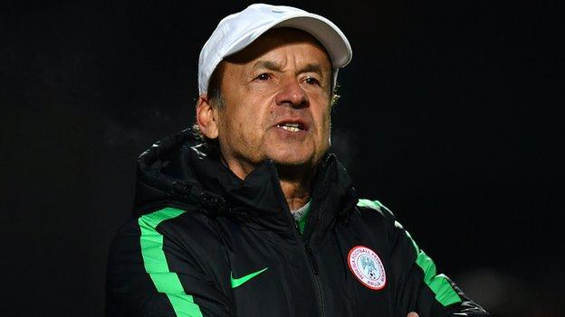 Nigeria's national team coach warns they shouldn't get carried away with friendly success.