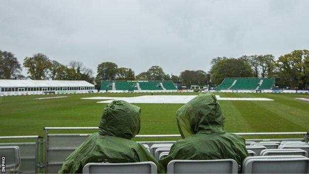 Ireland's game with Hong Kong was abandoned because of persistent rain at Malahide