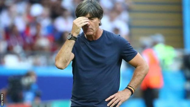Germany manager Joachim Low reacts during their World Cup exit