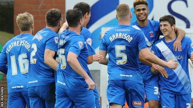 Hartlepool United celebrate Jake Gray's goal against Leyton Orient