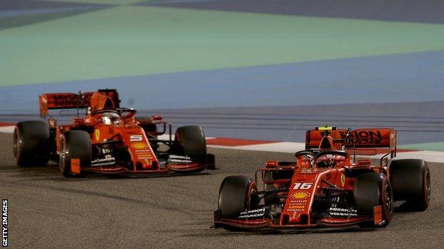 Sebastian Vettel and Charles Leclerc on track during the Bahrain Grand Prix