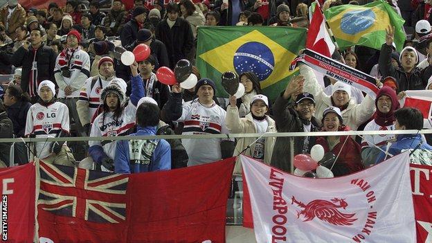 Liverpool and Sao Paulo fans at the Yokohama International Stadium in 2005