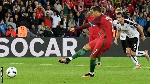 Cristiano Ronaldo takes a penalty against Austria