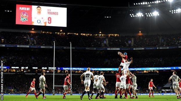 Wales and England in action during the 2020 Six Nations match at Twickenham on 7 March