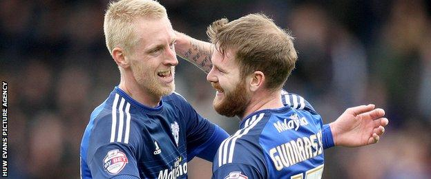 Lex Immers and Aron Gunnarsson of Cardiff City