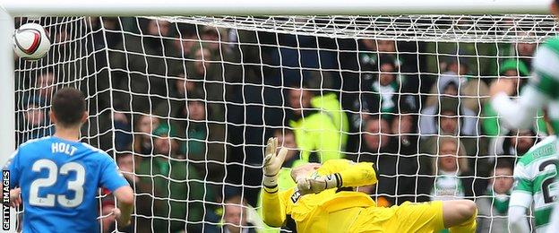 Goalkeeper Craig Gordon can only watch as Barrie McKay's effort hits the net