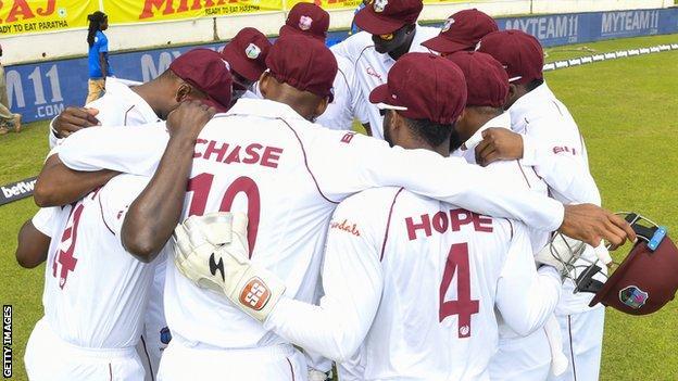 West Indies team huddle