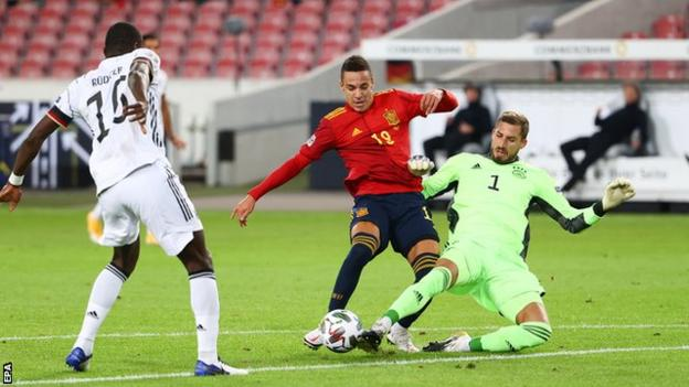 Rodrigo in action for Spain against Germany in the Nations League