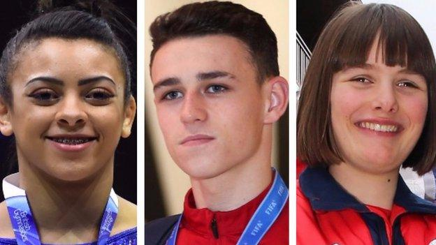 Ellie Downie, Phil Foden and Millie Knight