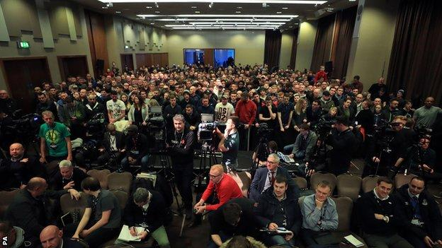 The first news conference of fight week drew a big crowd at a Liverpool hotel