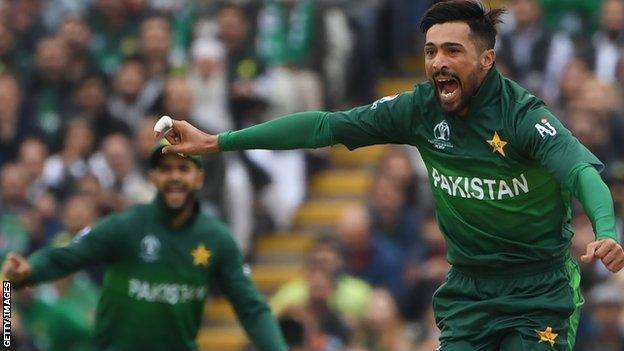 Pakistan's Mohammad Amir celebrates taking a wicket