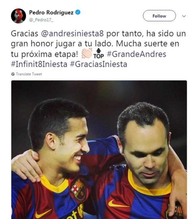 Pedro pays tribute to Andres Iniesta