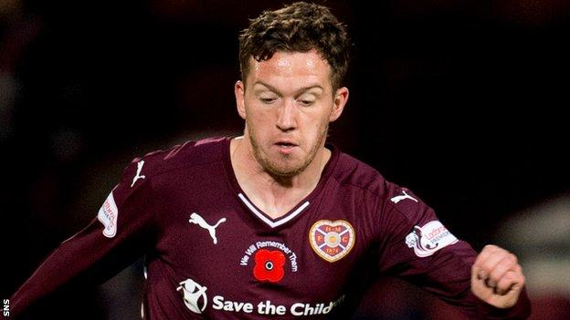 Danny Swanson in action for Hearts