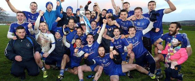 Loughinisland players celebrate after beating Bundoran in the Intermediate club final at Owenbeg