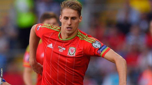 David Edwards in action for Wales