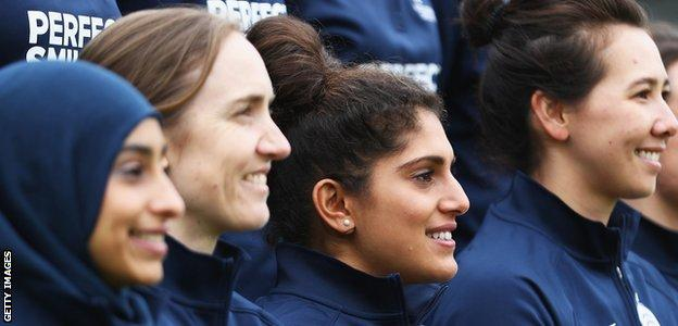 Naomi Dattani, second right, with team-mates at Middlesex