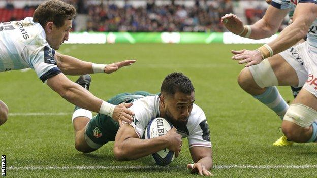 Telusa Veainu dives over to score for Leicester