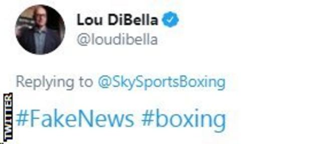 "Deontay Wilder's former promoter, Lou Di Bella, describes rumours that Fury and Joshua could fight next as ""Fake News"""