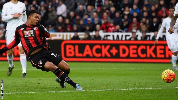 Joshua King scores his first Bournemouth goal against Swansea