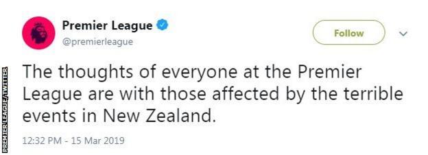 The Premier League's tweet on Friday