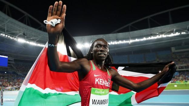 Kenya's Margaret Wambui celebrates her bronze medal at the 2016 Rio Olympics