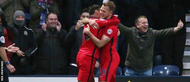 Jordan Rhodes and Ben Marshall celebrate a Blackburn Rovers goal
