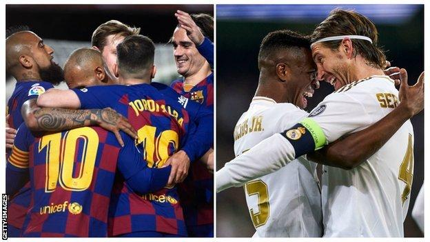 Barcelona and Real Madrid players celebrate