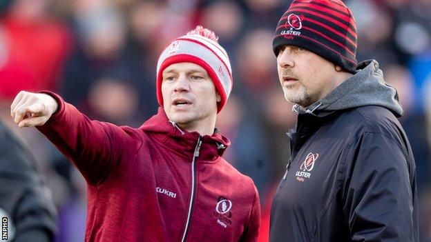 Ulster assistant coach Dwayne Peel (l) and head coach Dan McFarland
