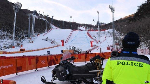 Men's downhill course after postponement