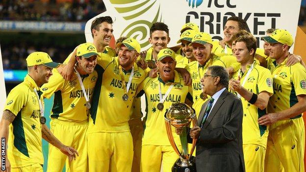 Australia receive the Cricket World Cup trophy