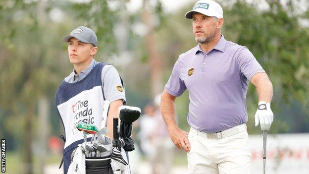 Lee Westwood's son Sam has been caddying for him this week