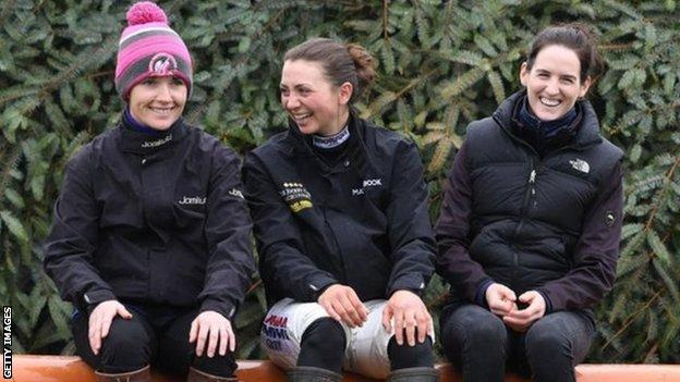 Jockeys Katie Walsh, Bryony Frost and Rachael Blackmore pictured at Aintree in 2018