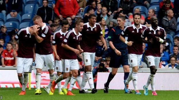 Hearts celebrate Osman Sow's winner against Rangers