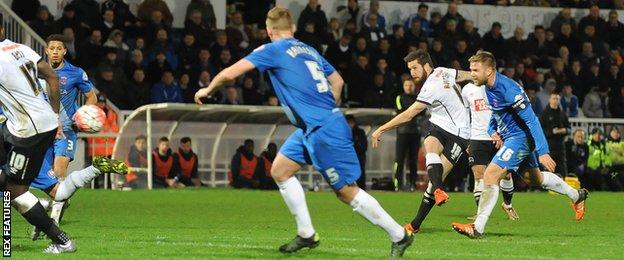 Jacob Butterfield scores Derby's equaliser against Hartlepool