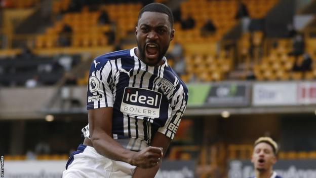 Nigeria defender Semi Ajayi celebrates a goal for West Bromwich Albion