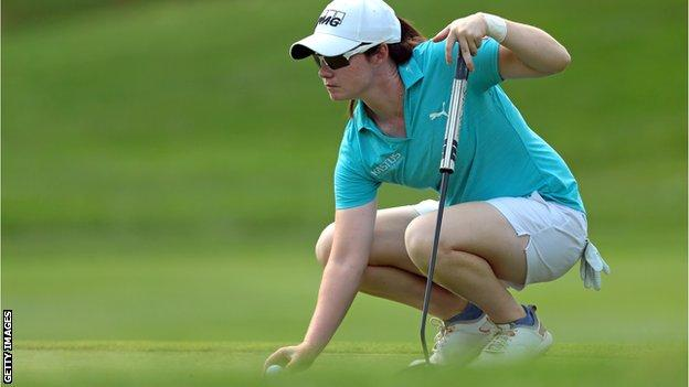 Leona Maguire lines up her putt on the second hole during Saturday's third round of the Marathon LPGA Classic
