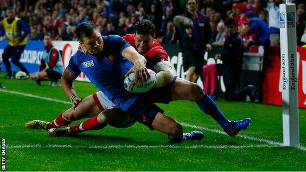 France debutant Remy Grosso scores against Canada
