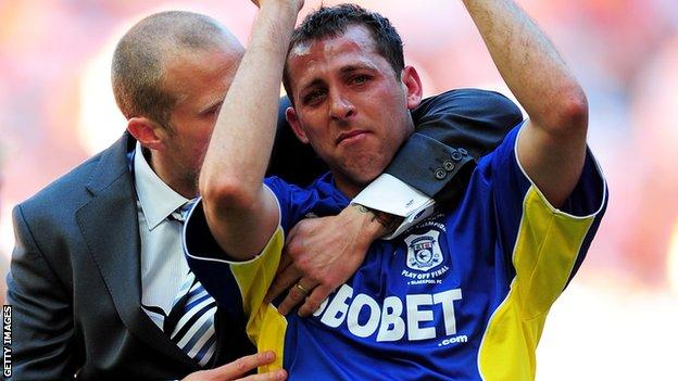 Michael Chopra (right) was in tears after Cardiff's Championship play-off final loss to Blackpool in 2010
