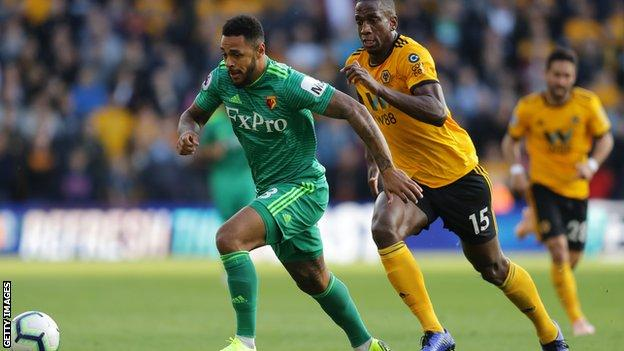 Andre Gray in action for Watford against Wolves