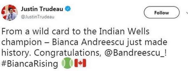 Justin Trudeau tweet