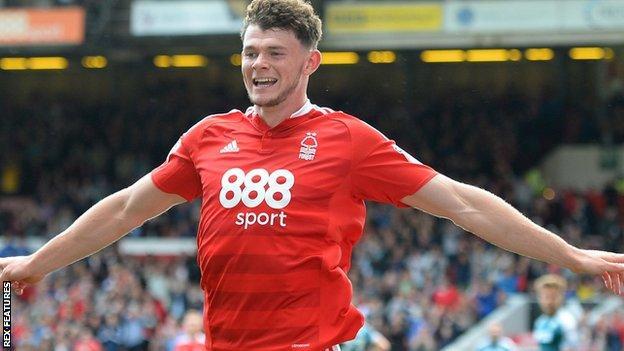 Nottingham Forest's Oliver Burke clebrates a goal against Wigan