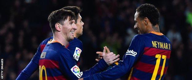 Lionel Messi celebrates scoring against Real Sociedad